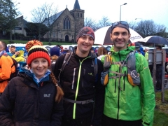 The 53 mile starters: Lisa Marshall, David Wilson and Kevin Nairn
