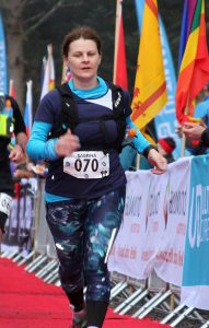 Sabrina Collins Brolly at the Highland Fling finish